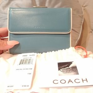 Coach Baby Blue Leather Trifold Coin Wallet